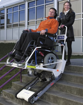 The Super-Trac is a portable accessibility option that accommodates all wheelchairs.